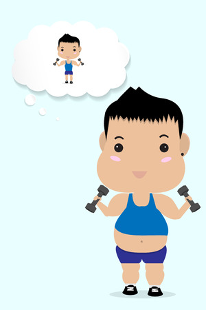 out of body: young fat boy work out to lose his weight Illustration