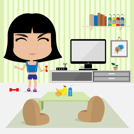 work out: young cute girl work out at home in living room