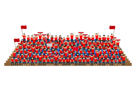 seats: team supporter on stadium seats stand red shirts Illustration