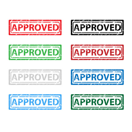 approved stamp: Approved stamp set of ink color on white background Illustration