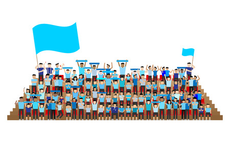 seats: team supporter on stadium seats stand in blue shirts kit Illustration