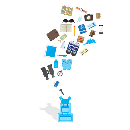 multifunction: travel accessories fly on the blue backpack Illustration