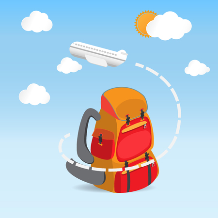 fly around: airplane fly around the red backpack for love traveling concept Illustration