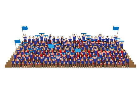 경기장 좌석에 팀 서포터 파란색 셔츠 스탠드