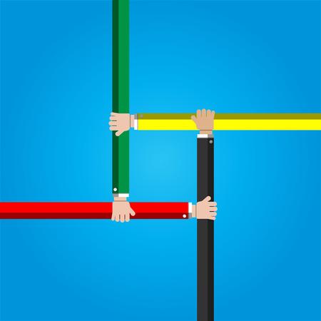 joined hands: Businessman joining hands together cooperation concept Illustration