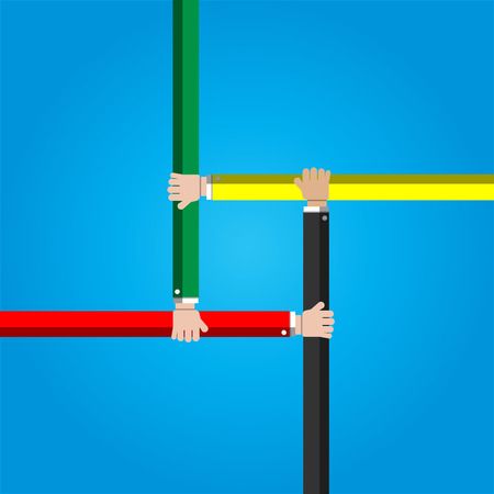 manos unidas: El hombre de negocios que une las manos concepto de cooperación