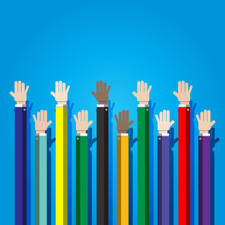show of hands: businessman show hands up