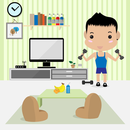 work out: young man work out in living room Illustration