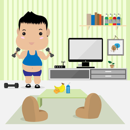 work out: young fat man work out in living room Illustration