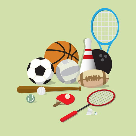 sports equipment: set of main sports equipment item