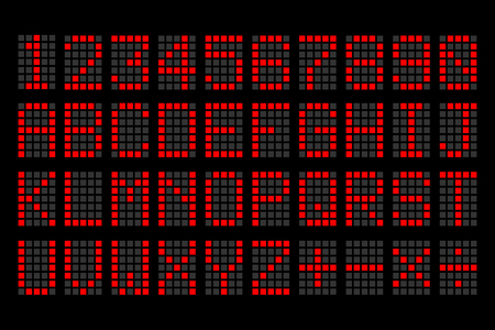 digital red letters and numbers display board for airport schedules, train timetables, scoreboard etc.