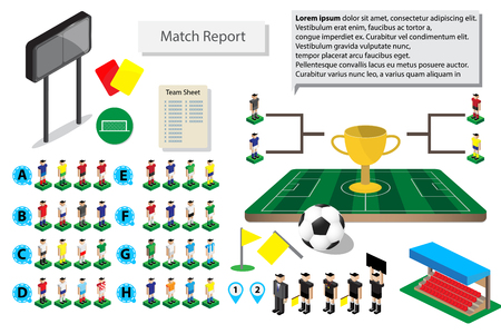 graphic soccer football icon for match report, road to final