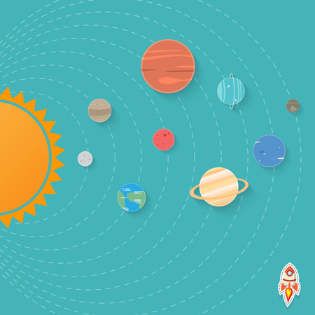 circumference: set of planets and sun in solar system Illustration