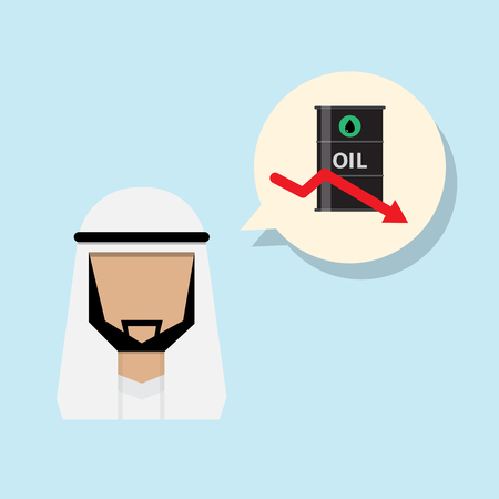 capacity: arab man sign annouce oil production capacity decreasing Illustration