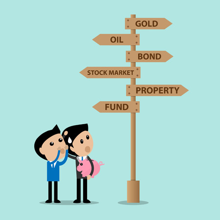 financial adviser: business consultant advise young investor for several choice of invest