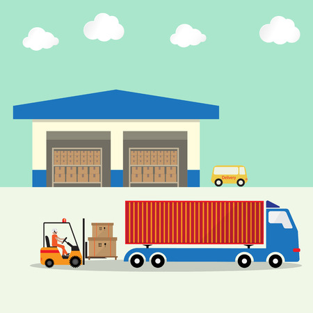 warehouse with forklift loading goods boxes pallet to container truck