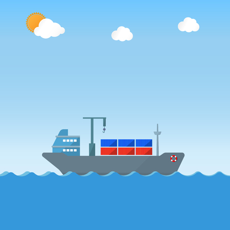 cargo vessel: cargo ship with containers on vessel Illustration