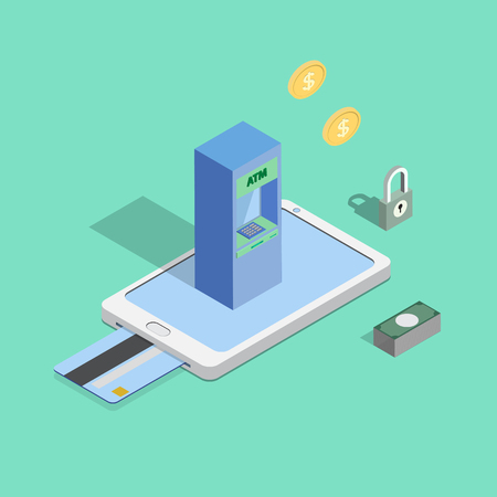 teller: cash online or internet banking, e banking concepts. Automatic Teller Machine on smart phone isometric view Illustration