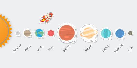 Solar system set of planets: Mercury, Venus, Earth, Mars, Jupiter, Saturn, Uranus, Neptune, Pluto. Space illustrations Vektorové ilustrace