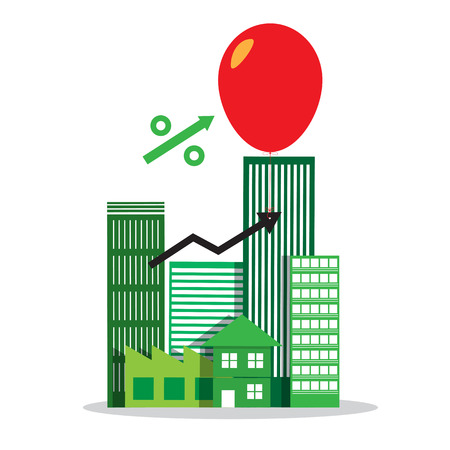 business risk: interest rate up symbol  with building property estate in balloon business risk concept