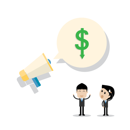 glad: businessman  action worry and glad after annouce dollar value gain and loss concept