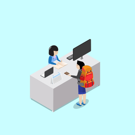 check in: backpacker customer check in with receptionist at reception desk