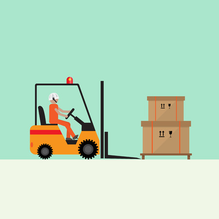 forklift driver loading fragile boxes and pallet