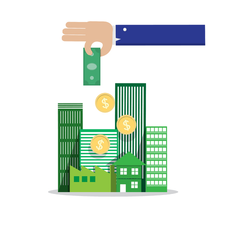 investors: businessman hand drop money in group of building Illustration