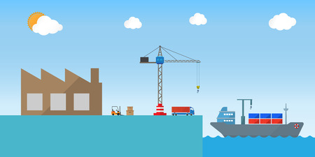 shipping by sea: sea freight shipping transportation service icon design for logistics industry Illustration