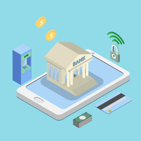 wireless icon: safe online or internet banking, e banking concepts. 3D bank building on smart phone isometric view