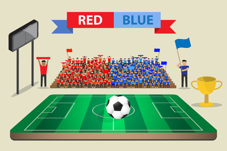 supporter: soccer football feild with supporter cheering on stand Illustration