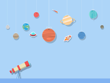 set of planets and sun in solar system with telescope in space background Illustration