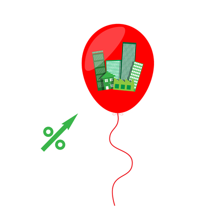 percentage up symbol  with building property estate in balloon for business risk concept