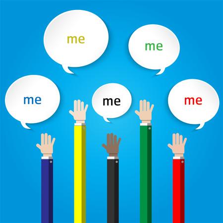 alzando la mano: show hands up in the air for volunteer concept