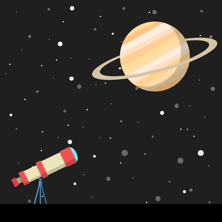 cosmo: telescope with saturn and planets in background Illustration