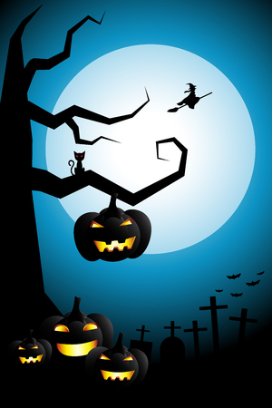 Halloween night background flying witch over cemetery on white full moon cool sky