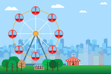 tent city: fun park and circus tent with ferris wheel in carnival fair on city background