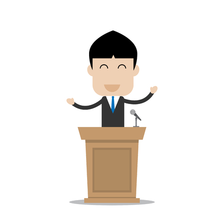 businessman at the podium with smile face