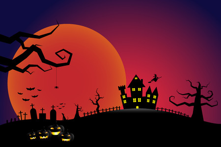 flying witch: Halloween pumpkins and a flying witch from dark castle with bloody Moon background Illustration