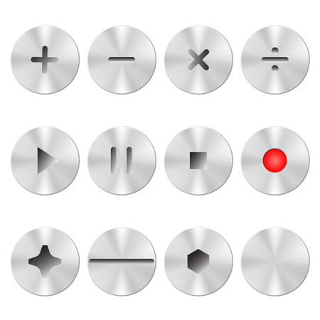 interface buttons: Metal interface buttons collection