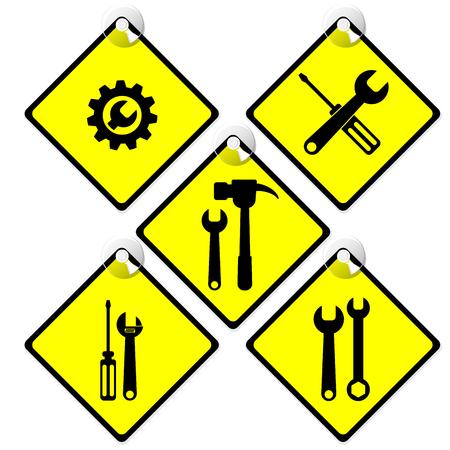 tools icon set in warning yellow tag Illustration