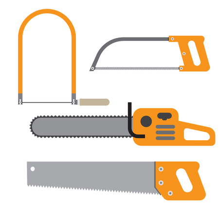 Hand saw Set of carpentry tools for sawing wood products Illustration
