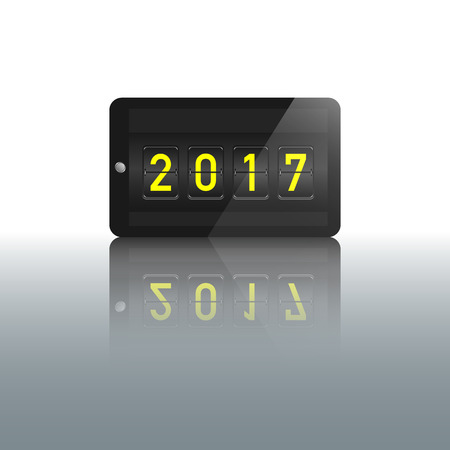 numbers clipart: new year 2017 number in flipping panel display on mobile phone with glossy reflection