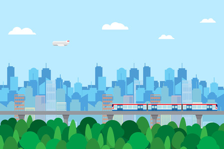 urban life green zone cityscape background Illustration