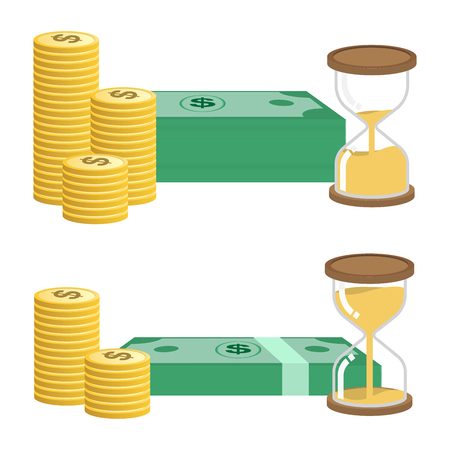 Time and money long term investment get more benefit concept