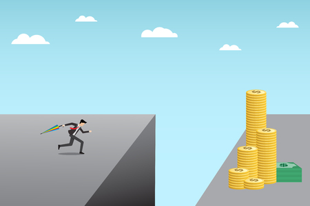 safty: young businessman running with umbrella in hand to jump over a cliff for   money