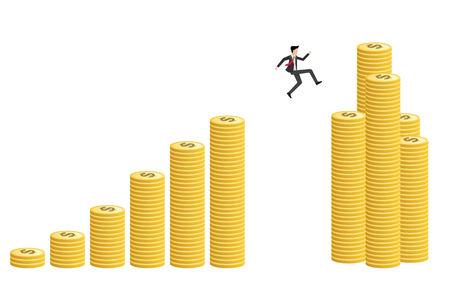 Young businessman jump to increasing coin bar graph high risk high return