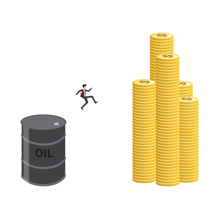 businessman jump from oil tank to investment in money market Illustration