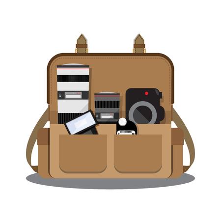 Camera tas met fotograaf versnelling binnen Stock Illustratie