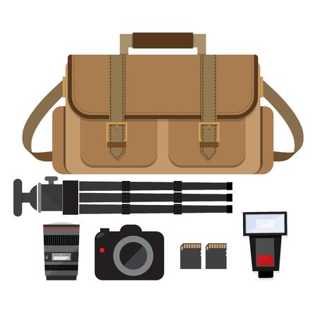 Camera tas met fotograaf versnelling Stock Illustratie